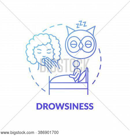 Drowsiness Blue Gradient Concept Icon. Sleepiness From Overwork. Lack Of Sleep. Weakness At Night. B