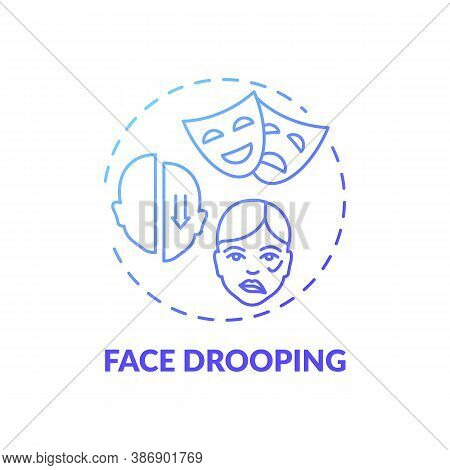 Face Drooping Blue Gradient Concept Icon. Facial Weakness. Problem From Disorder. Neurology Diagnosi