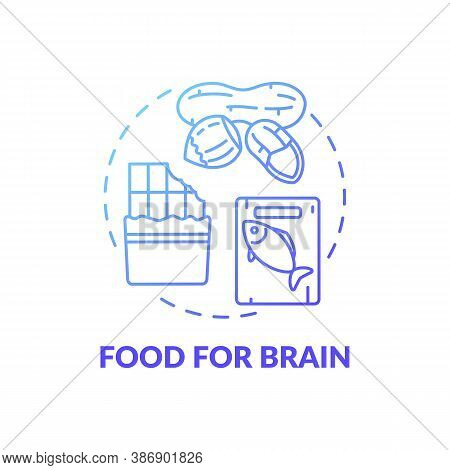Food For Brain Blue Gradient Concept Icon. Dark Chocolate. Oily Fish. Healthy Eating. Nutritious Nut