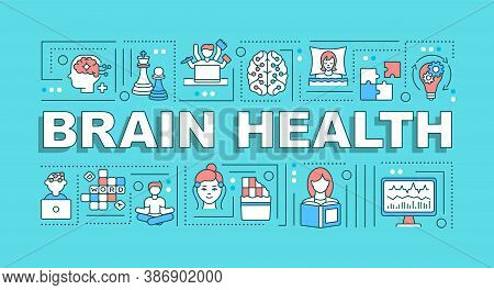 Brain Health Word Concepts Banner. Neurological Studies, Mental Diseases Diagnostics. Infographics W