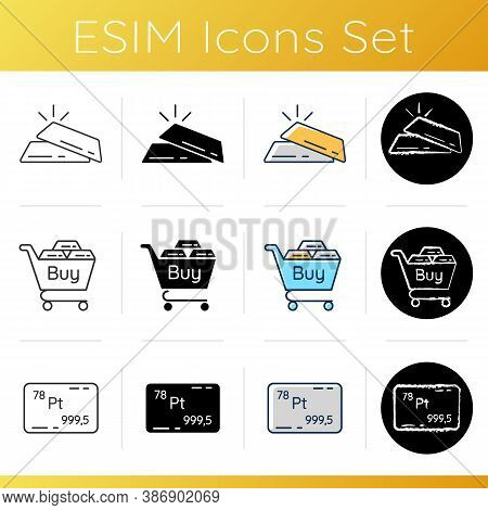 Buy Precious Metals Icons Set. Gold Bars. Golden And Silver Bullions. Buy And Sell Platinum. Periodi