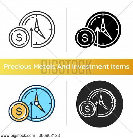Numismatic Value Icon. Monetary Gain. Coin With Dollar Sign. Market Income. Trading To Increase Fina