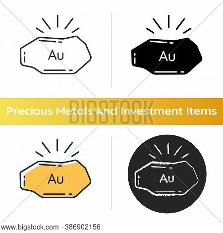 Golden Nugget Icon. Mineral Commodity For Trading. Gold Ore. Precious Metal. Metallurgy Production.