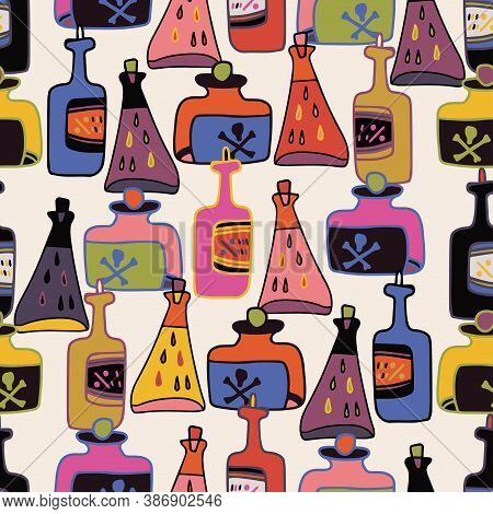 Vector Colorful Seamless Pattern Of Cartoon Stylised Alchemic Bottles And Tubes