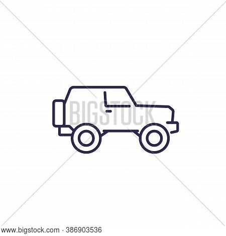 Off-road Car, 4wd Suv Line Icon, Eps 10 File, Easy To Edit