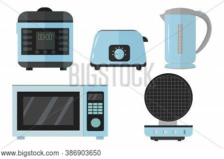 Slow Cooker, Electric Kettle, Toaster, Microwave, Waffle Iron Set In Vector Design. Graphic Illustra