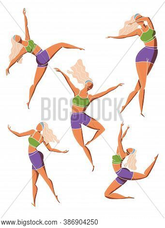 Set Of Dancing Girl Poses. Female Character In Different Choreographic Positions In Sportswear. Colo