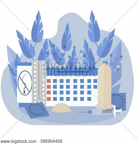 Composition Of Methods, Objects Of Contraception. Vector Graphic Illustration In Blue Colours. Birth