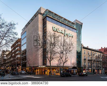 Madrid, Spain - February 14, 2020: El Corte Ingles Of Serrano Street. Salamanca District. Salamanca