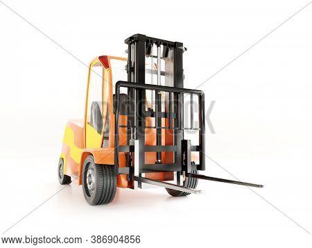 Modern loader forklift truck shot on white background