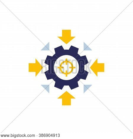 Integration Concept Vector Icon With Cogwheel And Arrows