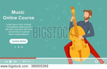 A Young Male Musician Plays The Cello. Advertising Courses On Playing Musical Instruments. Flat Cart