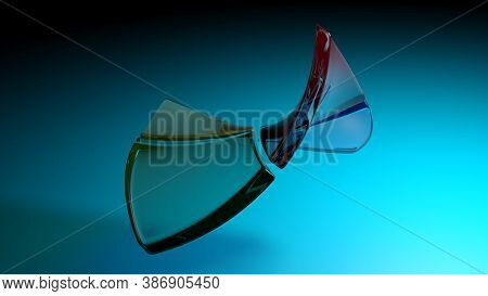 Abstract Blue Background With Flexible Semi Transparent Colored Plastic Squares - 3d Rendering Illus