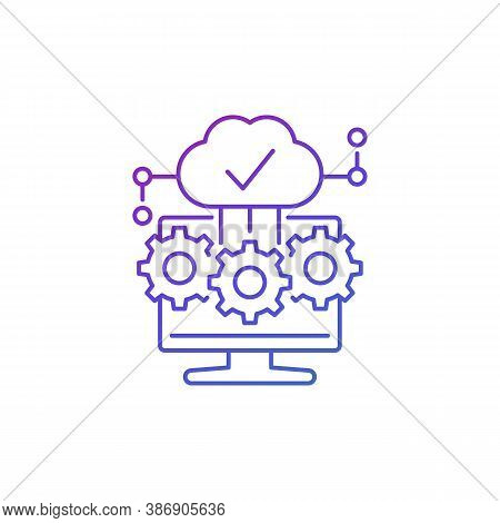 Cloud Computing Software Icon, Thin Line Vector, Eps 10 File, Easy To Edit
