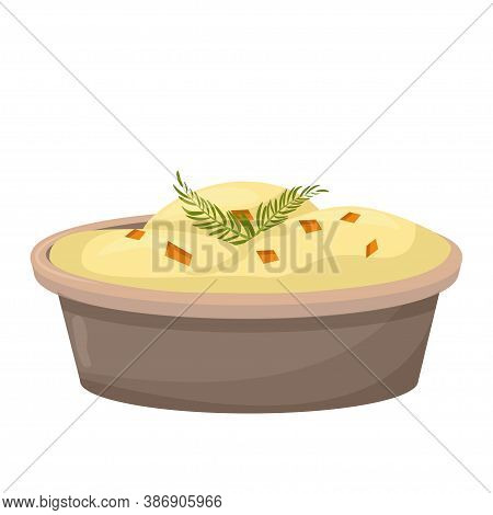 Mashed Potato, Puree In Dish Colorful And Closeup View Isolated On White Background. Traditional, He