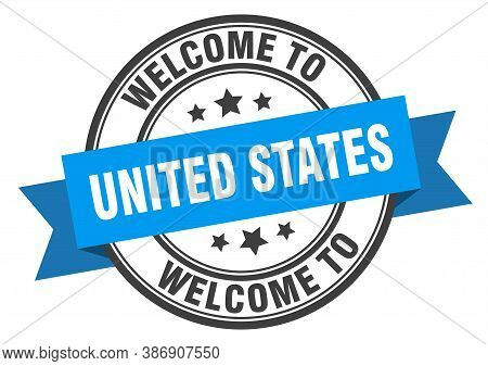 United States Stamp. Welcome To United States Blue Sign
