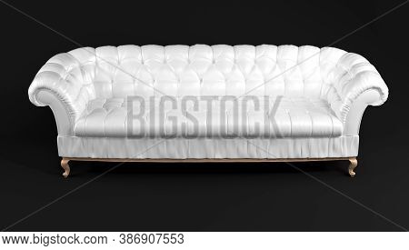 White Quilted Leather Sofa With Wooden Legs Isolated On Black Background Front View. Template For Ad