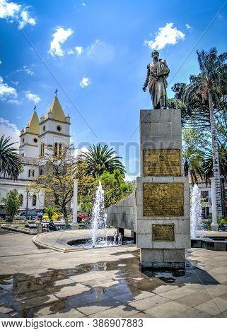 Guaranda, Bolivar Province, Ecuador - November 2013: Statue In Commemoration Of The Birth Of Liberat