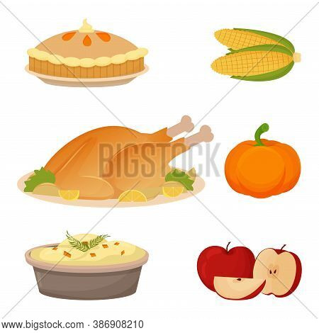 Set Of Thanksgiving Food Turkey, Mashed Potatoes, Apples, Pumpkin, Corn And Pie. Collection Of Objec