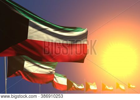 Wonderful Day Of Flag 3d Illustration  - Many Kuwait Flags On Sunset Placed Diagonal With Selective