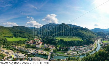 Lilienfeld In Lower Austria. Aerial View To The Abbey Monastery And The Traisen River And The Mucken