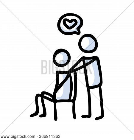 Hand Drawn Stickman Comforting Sad Friend Concept. Simple Outline Mental Health Doodle Icon Clipart.