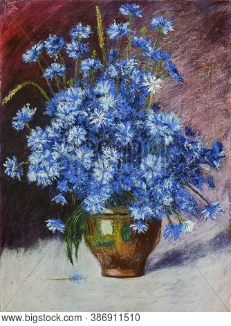 Still Life In Pastel Painting Cornflowers In A Vase. Paper, Soft Pastel, 63 X 47 Cm. Based On The Wo