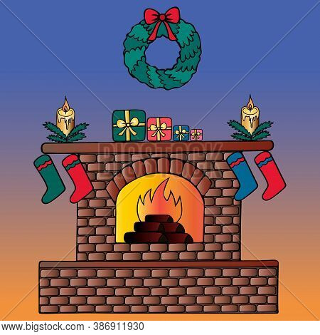 A Fire Is Burning In The Fireplace. Cozy Interior. A Christmas Wreath Decorates The Wall. Vector Ill