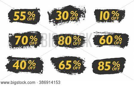 Set Sale Tags Set Icons Template, 10 Discount, 20, 90, 80, 30, 40, 50, 60, 70 Percent Off Sale Label