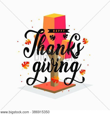 Happy Thanksgiving Design. Greeting Card Thanksgiving. Celebration Holiday