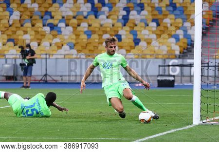 Kyiv, Ukraine - August 5, 2020: Marin Pongracic Of Vfl Wolfsburg Defends His Net During The Uefa Eur
