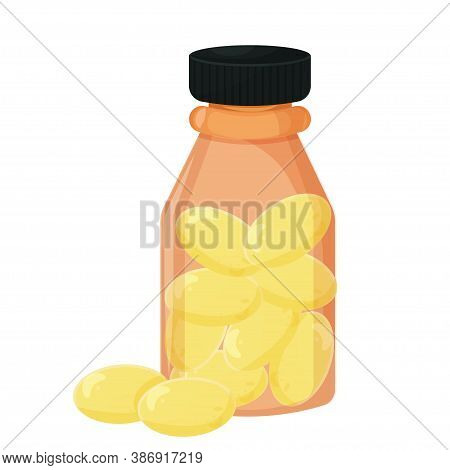 Bottle With Pills Of Fish Oil, Fatty Acids Isolated On White Background Stock Vector Illustration. G