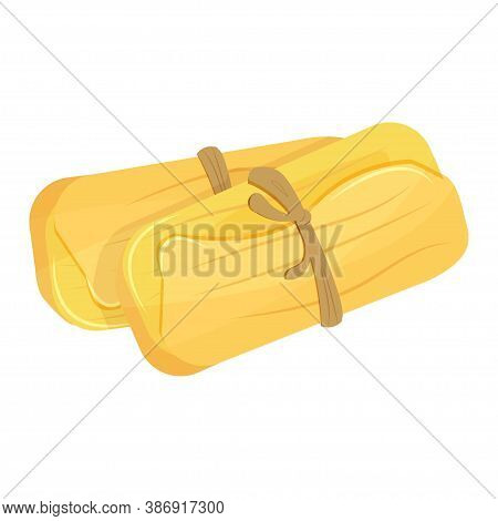 Traditional Mexican Food Tamale Isolated On White Background Stock Vector Illustration. Bright Color