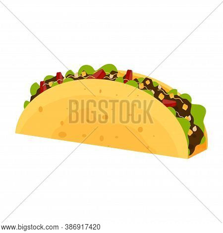 Taco Stock Vector Illustration In Flat Style. Typical Mexican Food, Traditional Meal, Snack, Isolate