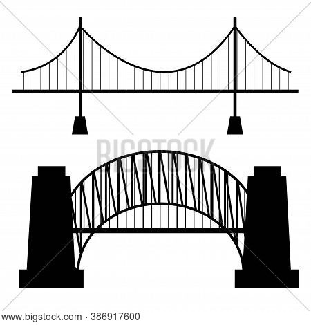 Vector Bridges Silhouettes Icons. Black Silhouettes Of Beautiful Bridges On A White Background For L