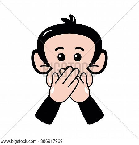 Isolated Shy Emoji Funny Chimpanzee Icon - Vector