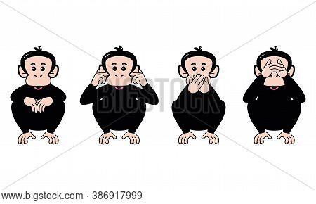 Isolated Set Face Emoji Chimpanzee Funny Icon - Vector