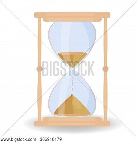Sand Hourglass Isolated On White Background Stock Vector Illustration. Graphic Design Of Simple And