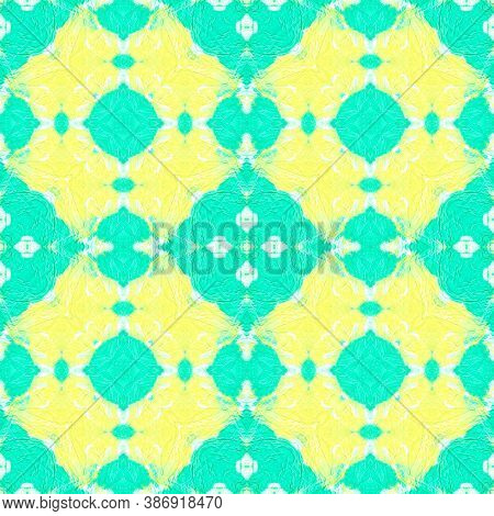 Tunisian Tile. Ethnic Ornament. Green, Yellow And White. Abstract Aquarelle Tile. Tribal Artistic Pa