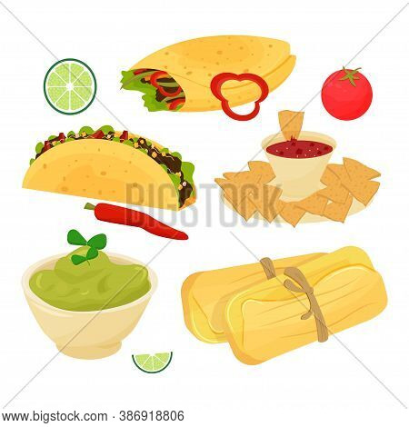 Set Of Mexican Dishes, Food Taco, Burrito, Guacamole, Tamale, Nachos Decorated With Lime, Tomato, Ch