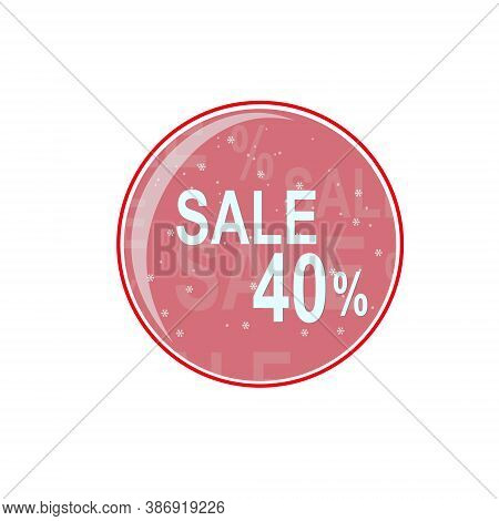 Glass Ball, Winter Discount Of Forty Percent. Vector Graphics