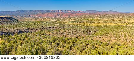 A Panorama View Of The Upper Verde River Watershed In The Prescott National Forest In Arizona Near P