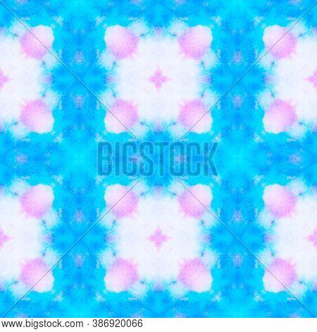 Azulejo Tile Design. Abstract Aquarelle Ceramic. Spanish Fabric Design. Blue, Pink And White. Batik
