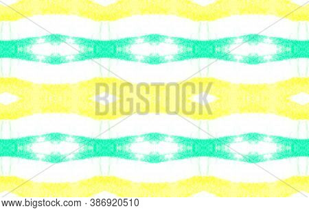 Folk Tribal Seamless Pattern. Repeated Ethnic Wallpaper. Handmade Swimwear Design. Green And Yellow