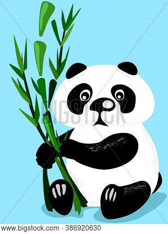 Flat Vector Illustration Of Cute Panda Bear. Sitting And Eating Panda With Bamboo Plant