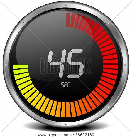 illustration of a metal framed digital stop watch showing 45s