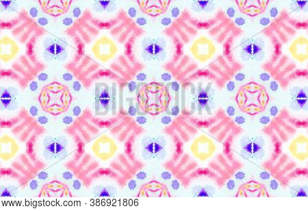 Seamless Watercolor Ethnic Pattern. Aquarelle Tie Dye Vintage Abstract Ceramic. Colorful And White C