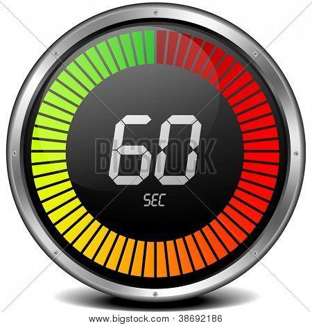 illustration of a metal framed digital stop watch showing 60s