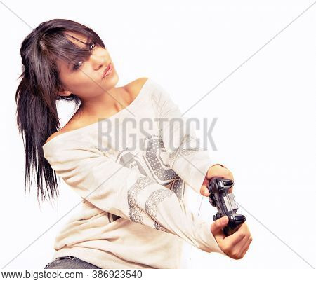 Young woman playing video games