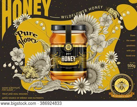 Modern Honey Ads, Glass Jar In 3d Illustration Isolated On Retro Flowers Elements In Etching Shading